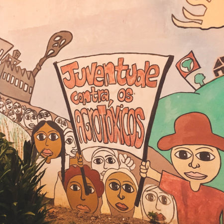 mural at school in brazil promoting the Brazilian Landless Workers' Movement